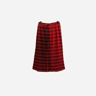 Dislocation vintage / pleated wool plaid dress no.199 vintage