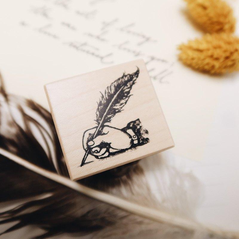 藝術楓木印章-手寫羽毛筆