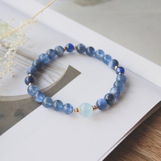 Journal Sapphire / Natural kyanite, Aquamarine, 14KGF elastic bracelet