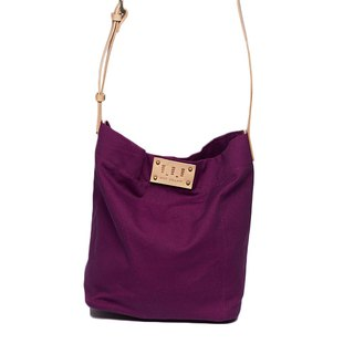 Washed canvas drum bag / Street Bucket Bag / Purple / Cow leather strap