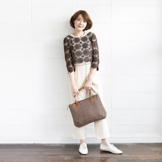 Shoulder Curve Bags Hand Woven and Botanical dyed Cotton Brown Color