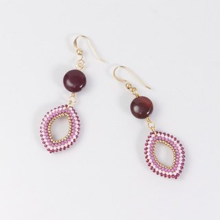 Red Gemstone Bohemian Marquise earrings, mookaite, 14K gold filled, 389