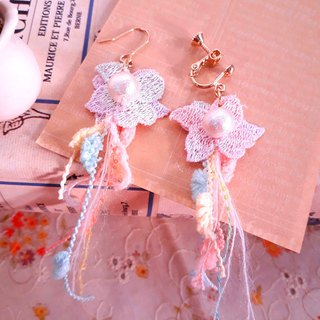 Japanese cotton pearl stained autumn maple lace tassel earrings D139 gift forest dream sweet girl heart