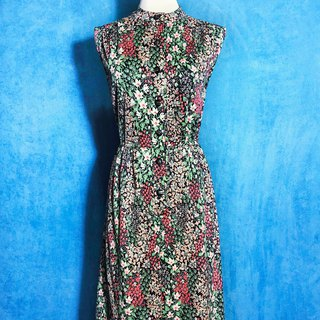 Small Collar Flower Sleeveless Vintage Dress / Bring back VINTAGE abroad