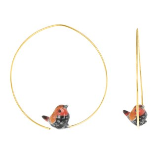 Pink-Throated Twinspot Bird Hoops Earrings