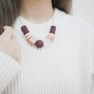 Wine Pink Pink Marshmallow Geometric Necklace MARSHMALLOW NECKLACE