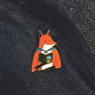 #18 Mr. Fox Who Reads the Fairytale Pin/Brooch
