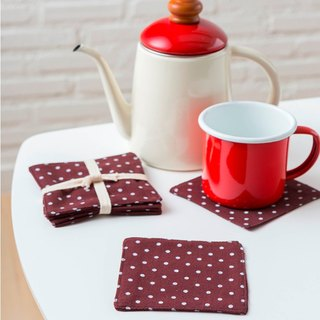 Coaster - Set of 4 - Dot Brown