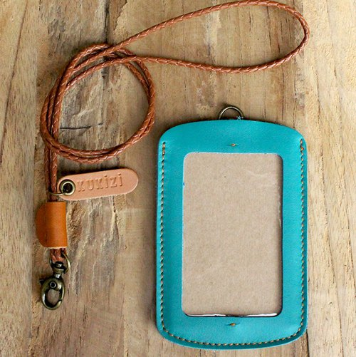 ID case/ Pass case/ Card case - ID 1 -- Turquoise + Tan Lanyard (Cow Leather)