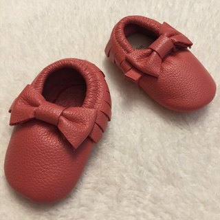 SanBelle Baby Fringed Moccasin Shoes ★Lether★0-18m Coral pink