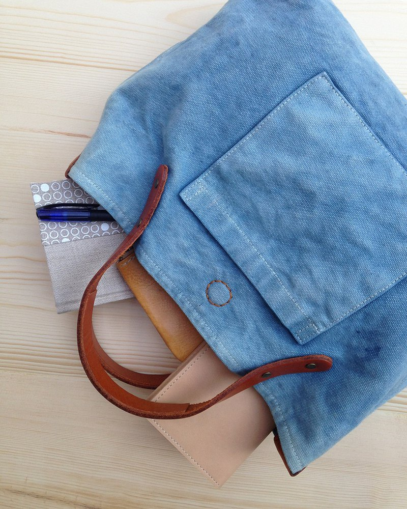 Indigo Canvas handbag, Simple bag, Canvas handbag, Indigo canvas and leather bag