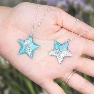 Blue transparent vinyl record 925 sterling silver necklace // stars
