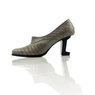 Stream (grey alligator cow leather handmade leather shoes)