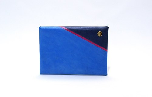 Handmade Leather Slim Wallet / Card Case - Hand painted are series Marine Blue S (custom made available)