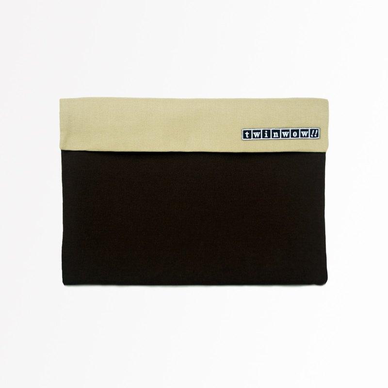 時尚筆記 - 細緻質感平板包 - 咖啡卡其