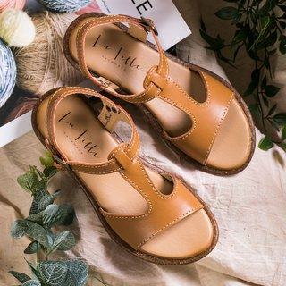 T-shaped open toe sandals _ brown