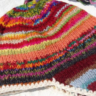 Christmas hand-knitted pure wool hat / handmade bristles caps / knitting caps / flight caps / wool cap - Nordic wind gradient sunset (a handmade limited edition)