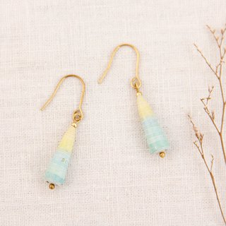 MUSEV yellow and blue gradient pink awl earrings