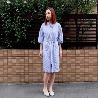 Womenswear blue white striped one piece shirt dress