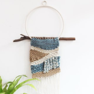 Indigo blue dye hand-woven tapestry wall hanging