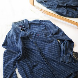 River Water Mountain - Fukui Indigo Fine Grid Summer Sprinkle Log Antique Cotton Shirt Top Jacket