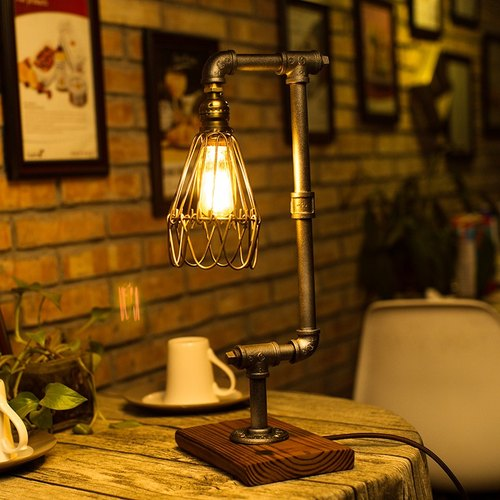 "Loft Style Lamp, ""The Cage III"", Steam Punk Industrial Vintage Style, Wood Base Metal Body, Table Desk Light With Dimmer"