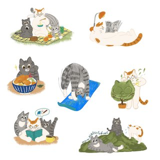 Three cat sticker set