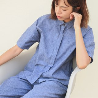 Navy Paper Shirt  / Cotton Linen Hemp