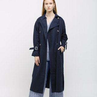 Dark Blue Oversized Linen Trench Coat