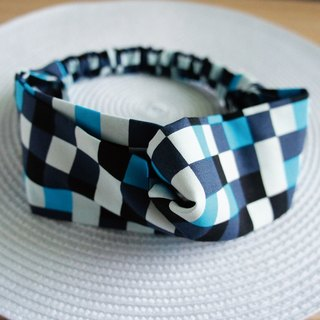 Lovely fashion checkered butterfly elastic hair band, hair ring, blue color jump square