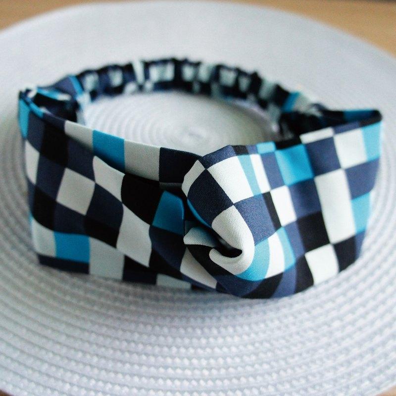 Lovely時尚方格蝴蝶鬆緊髮帶、髮圈、藍色跳色方塊E