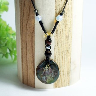 Hand-painted butterfly fish bones (butterfly fish) Wood Pendant Necklace
