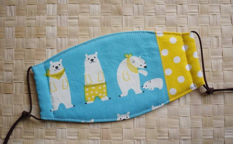 日常必備小物=手作口罩=北極熊家族=晴空藍×點點水玉