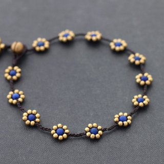 Lapis Daisy Brass Braided Anklets, Brass Beads Woven Beaded Ankles Bracelets