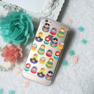 Russian Doll pattern Clear TPU Silicone Phone Case Cover  iphone X 8 8+ 7 7+ 6 6