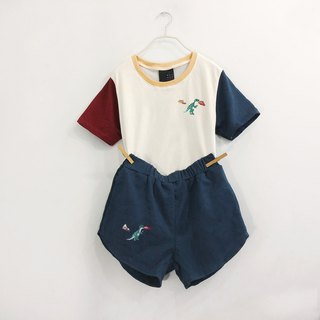 dinosaur embroidery set + crop top + shorts