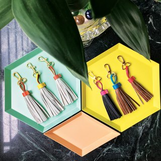 Sonniewing's Color Block Leather Tassels Keychain