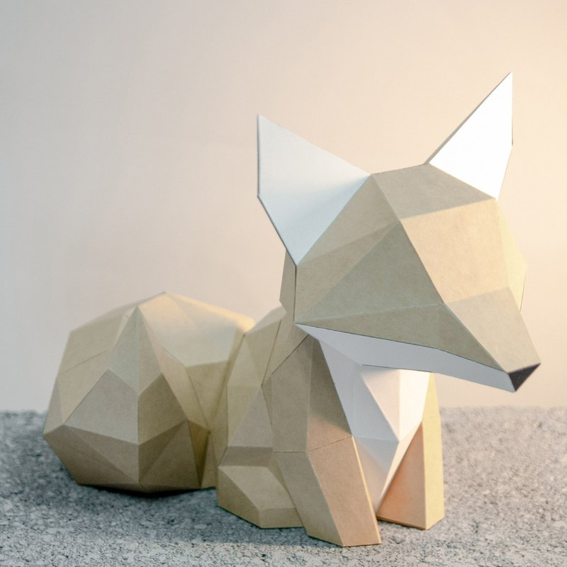 DIY手作3D紙模型擺飾 小動物系列 -萌尾巴小狐狸 (4色可選)