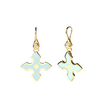 Chivalry Sir Lancelot Cloisonne Earrings (gold) -18,112,151,117