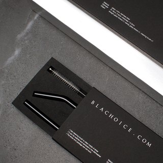 Black glass straw gift box