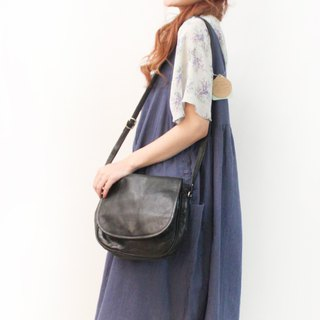 Vintage Leather Plaid Inner Black Side Backpack Oblique Backpack European Antique Bag European Vintage Bag