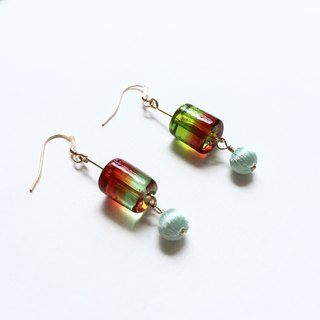 Stereo embroidery  gradient glass beads earrings 2, PinkoiENcontent