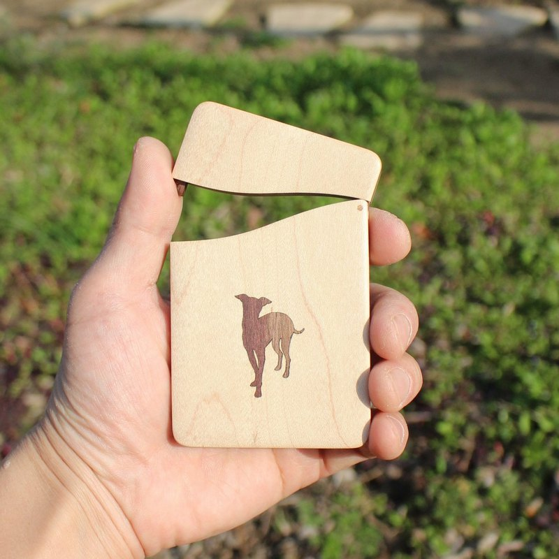 """ Italian Greyhound"" Slim name-card holder Maple and Walnut"