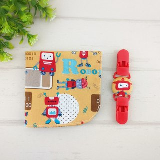 Robot base - 2 colors optional. Double-sided cotton handkerchief + handkerchief clip (can increase 40 embroidered name)