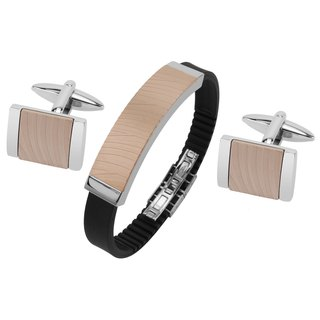 Stainless Steel IP Rose Gold Zebra Texture Cufflinks and Bracelet Set