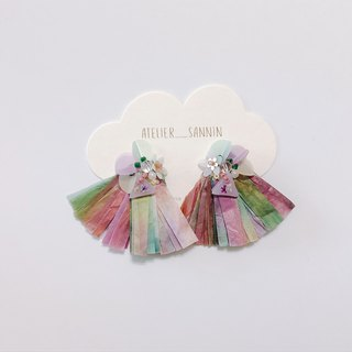 Autumn Story Series - Flower umbrella under the autumn wind, embossed sequins, limited ear clips / ear clips