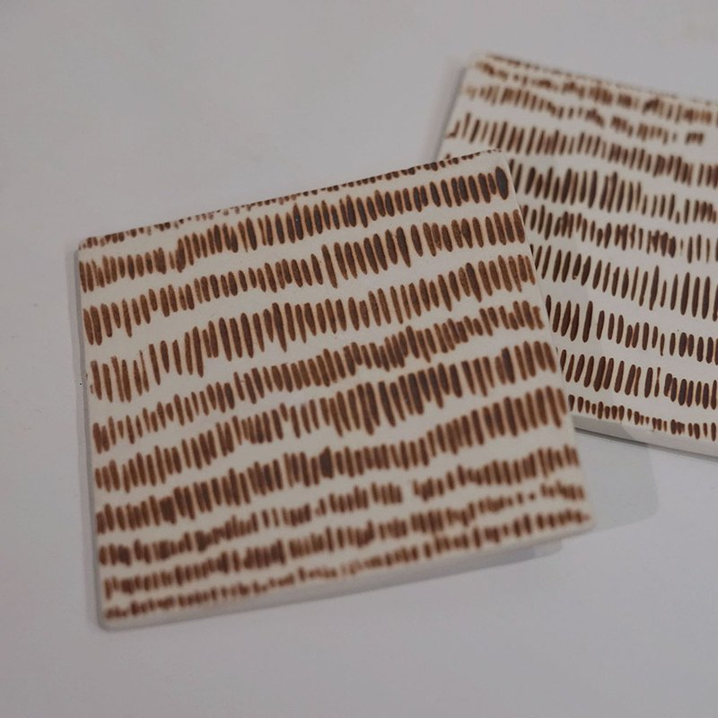 Coaster / Shaped Brown Textured Striped Absorbent Coaster (Pair)