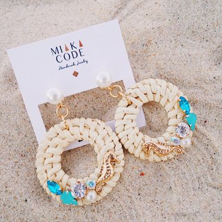 A variety of wearing marine series pearl hippocampus - rattan ring - earrings / ear clips
