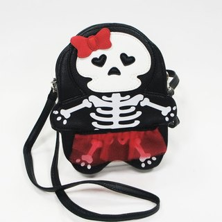 Halloween Bow Lace Skirt Skull Sister Childlike Style Crossbody Bag Black - Cool Le Village