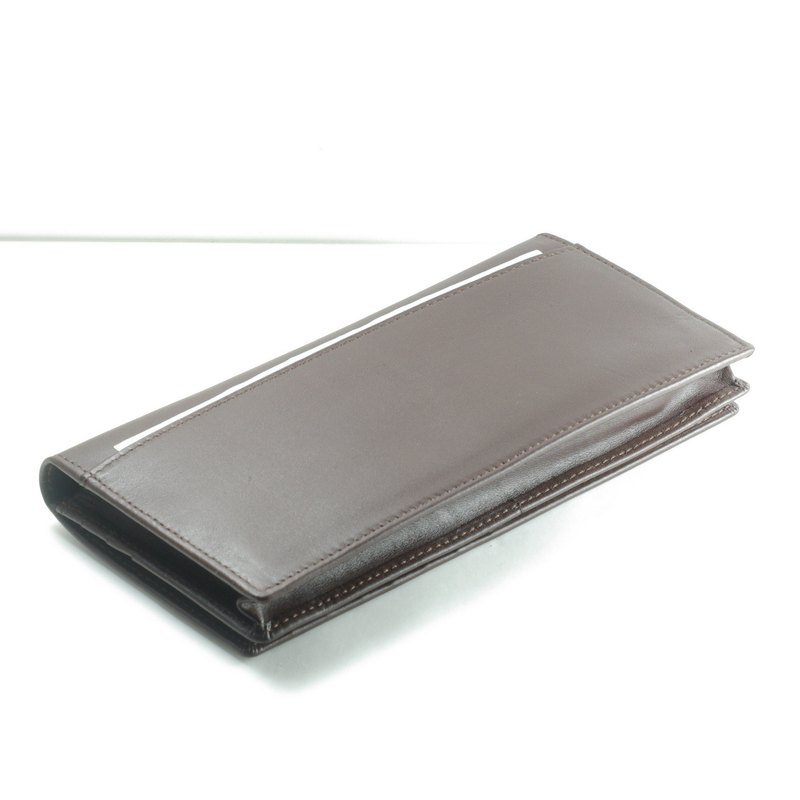 Back layer male long clip leather wallet 12 card photo coin purse brown paid custom lettering
